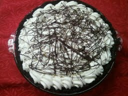 chocolate cream pie with drizzle