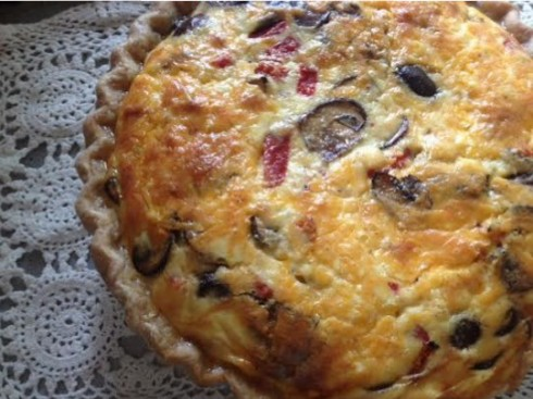 pepper and mushroom quiche